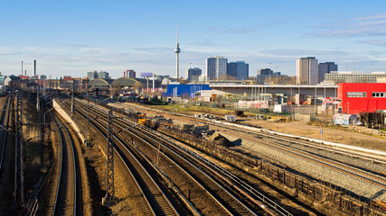 Cityscape with railroads in Berlin, Germany