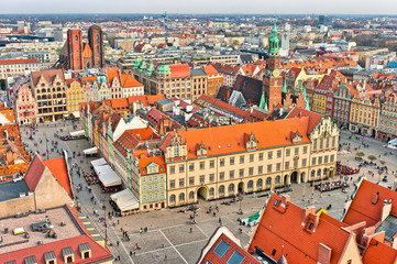 Town square in Wroclaw, Poland