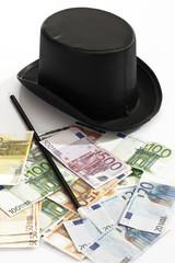 Verschiedene Euro-Banknoten,Top-Hut und Zauberstab