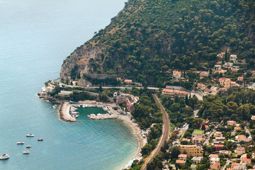 Aerial view on Eze sur mer town in France. Azure sea.