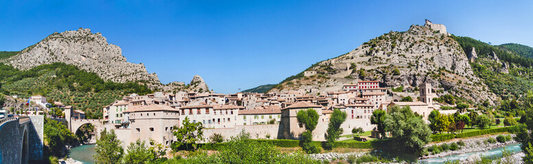 Panoramic view on town Entrevaux, France. Mountains and fortific