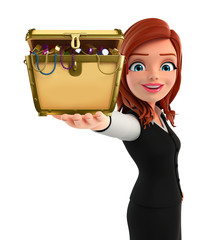 Young Business Woman with treasure box