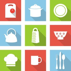Set of kitchen utensils icons in flat style with shadow