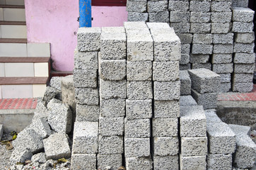 gray brick material stack in asia street