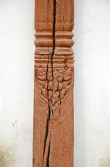 ancient carved wood fragment in Katmandu, Nepal