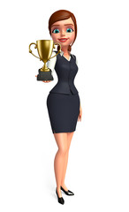 Young office girl with trophy