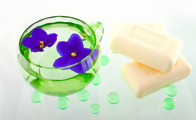 Creamy Soap Bars in a SPA Composition