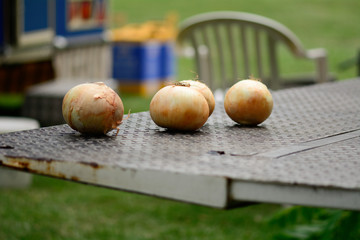Onions on lorry tailgate at fairground food stall