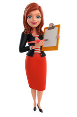 Young Corporate lady with notepad