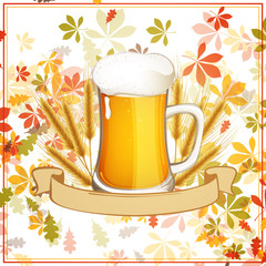 Vector Illustration of a Fresh Beer with a Ribbon