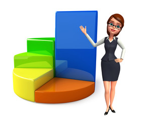 Young office girl with business graph