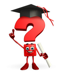 Question Mark character with graduate Hat