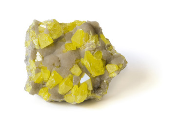 Yellow sulphur on aragonite from Sicily. 14cm across.