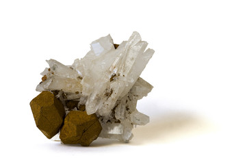 Quartz crystals with pseudomorphous iron pyrites. 10cm high.