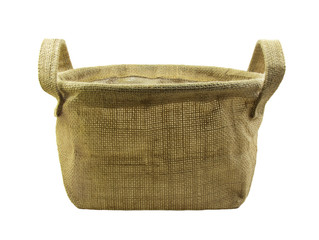 Gunny basket  with handle on white background