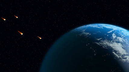 small flaming asteroids move against the earth
