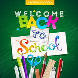 Fototapety Back to school - vector illustration with stationery