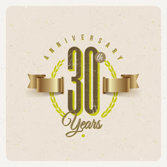 Vintage Anniversary type emblem with golden ribbon