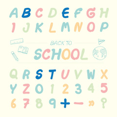 Vector illustration alphabet sketched style ,back to school.
