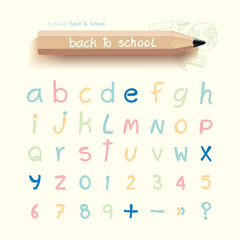 alphabet sketched style ,back to school with doodle Hand drawn
