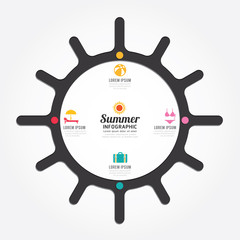 infographics vector sun design summer concept diagram line style