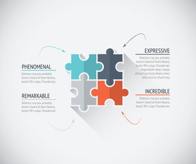Four flat color puzzle pieces business connecting jigsaw vector