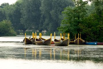 Fun row boats on lake