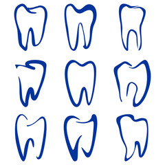 Abstract  teeth set sketch cartoon vector illustration