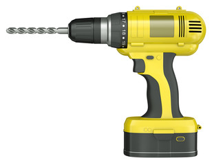 Yellow cordless drill, 3D render