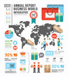 Infographic annual report Business world industry factory.