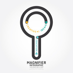 infographics vector magnifier design diagram line style template