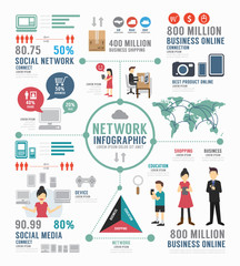 Infographic social network template design . concept vector.