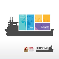 infographic Template with shipping boat banner . concept vector