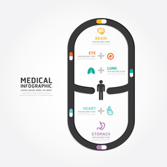 infographics vector medical capsule design diagram line style te
