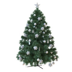 Christmas tree with baubles isolated