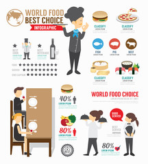 Infographic food world template design . concept vector.