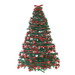 Christmas tree with red baubles isolated