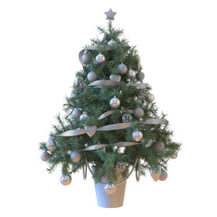 Christmas tree with baubles and silver tape isolated