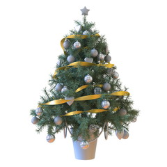 Christmas tree with baubles and yellow tape isolated