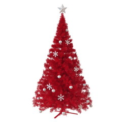 Christmas tree (red) with ornaments isolated