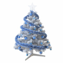 Christmas tree with blue tinsel and baubles isolated