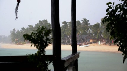 Rain on Tropical Island. Bad Weather on Holidays.