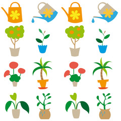 seamless background with plants and watering can