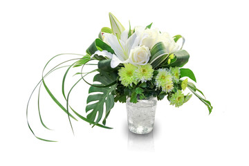 Bouquet of flowers in a vase on white background