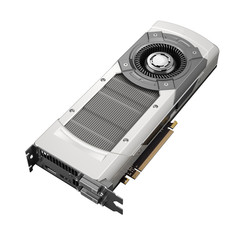 Powerful computer graphic card on white background