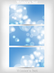 Winter's Set Of Soft Bokeh Background Vector Illustration