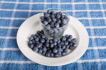 Fresh Blueberries in Glass Cup on White Plate