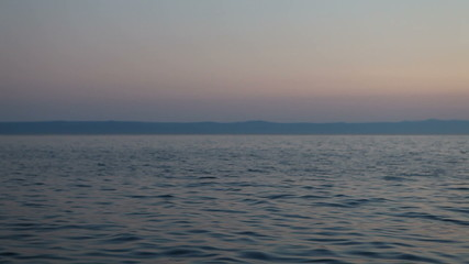 Adriatic Sea and mountainous Croatian coast at dusk