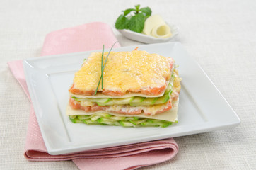 lasagna with zucchini and smoked salmon