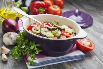 Steamed vegetables in the ceramic pot